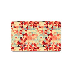 Modern Hipster Triangle Pattern Red Blue Beige Magnet (name Card)