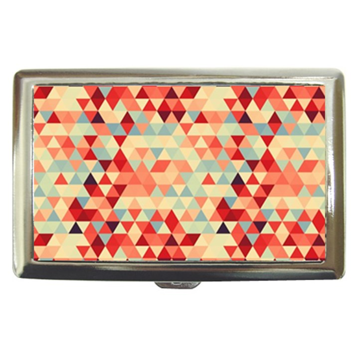 Modern Hipster Triangle Pattern Red Blue Beige Cigarette Money Cases