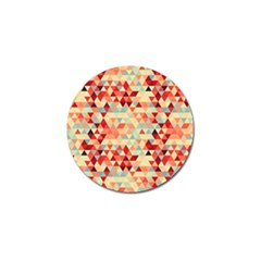 Modern Hipster Triangle Pattern Red Blue Beige Golf Ball Marker (4 Pack)