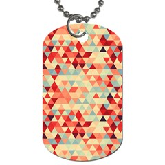 Modern Hipster Triangle Pattern Red Blue Beige Dog Tag (two Sides) by EDDArt