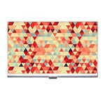Modern Hipster Triangle Pattern Red Blue Beige Business Card Holders