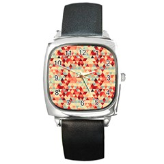 Modern Hipster Triangle Pattern Red Blue Beige Square Metal Watch by EDDArt