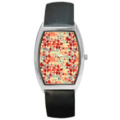 Modern Hipster Triangle Pattern Red Blue Beige Barrel Style Metal Watch