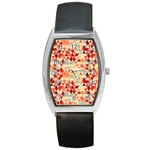 Modern Hipster Triangle Pattern Red Blue Beige Barrel Style Metal Watch Front