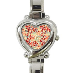 Modern Hipster Triangle Pattern Red Blue Beige Heart Italian Charm Watch by EDDArt