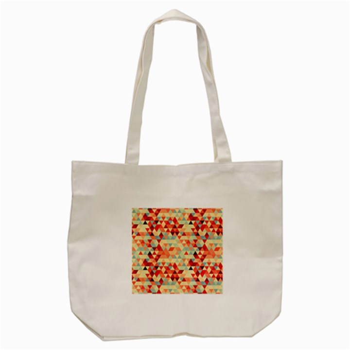Modern Hipster Triangle Pattern Red Blue Beige Tote Bag (Cream)