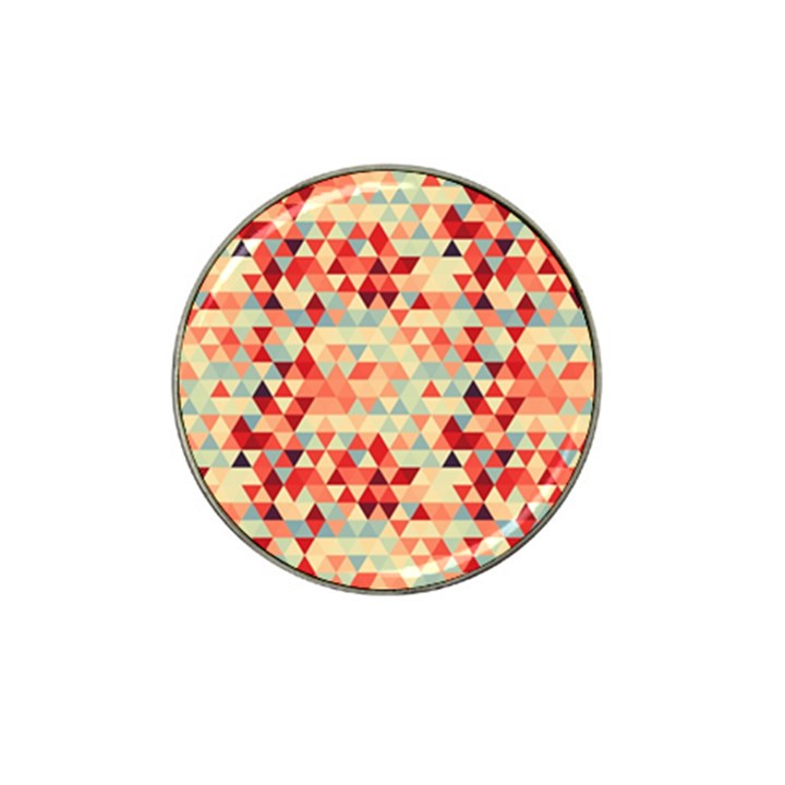 Modern Hipster Triangle Pattern Red Blue Beige Hat Clip Ball Marker