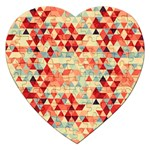 Modern Hipster Triangle Pattern Red Blue Beige Jigsaw Puzzle (Heart) Front