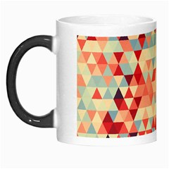 Modern Hipster Triangle Pattern Red Blue Beige Morph Mugs
