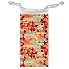 Modern Hipster Triangle Pattern Red Blue Beige Jewelry Bags by EDDArt