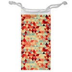 Modern Hipster Triangle Pattern Red Blue Beige Jewelry Bags Front