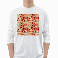 Modern Hipster Triangle Pattern Red Blue Beige White Long Sleeve T Shirts