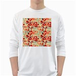 Modern Hipster Triangle Pattern Red Blue Beige White Long Sleeve T-Shirts Front