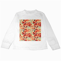 Modern Hipster Triangle Pattern Red Blue Beige Kids Long Sleeve T Shirts
