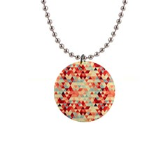 Modern Hipster Triangle Pattern Red Blue Beige Button Necklaces by EDDArt