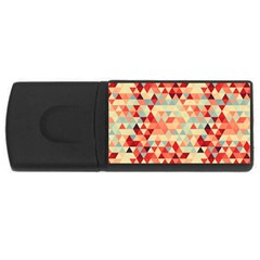 Modern Hipster Triangle Pattern Red Blue Beige Usb Flash Drive Rectangular (4 Gb)