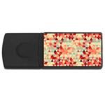 Modern Hipster Triangle Pattern Red Blue Beige USB Flash Drive Rectangular (4 GB)