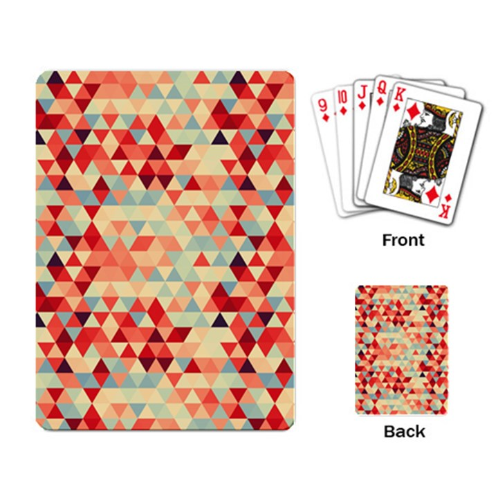 Modern Hipster Triangle Pattern Red Blue Beige Playing Card