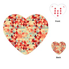 Modern Hipster Triangle Pattern Red Blue Beige Playing Cards (heart)  by EDDArt