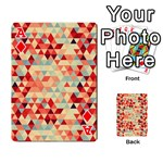 Modern Hipster Triangle Pattern Red Blue Beige Playing Cards 54 Designs  Front - DiamondA