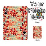 Modern Hipster Triangle Pattern Red Blue Beige Playing Cards 54 Designs  Front - Club3
