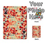 Modern Hipster Triangle Pattern Red Blue Beige Playing Cards 54 Designs  Front - ClubK