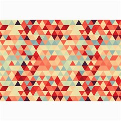 Modern Hipster Triangle Pattern Red Blue Beige Collage Prints