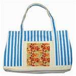Modern Hipster Triangle Pattern Red Blue Beige Striped Blue Tote Bag Front