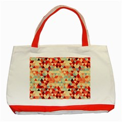 Modern Hipster Triangle Pattern Red Blue Beige Classic Tote Bag (red)