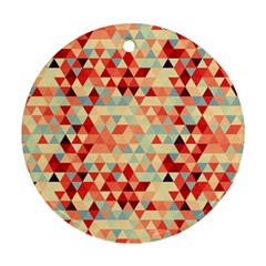 Modern Hipster Triangle Pattern Red Blue Beige Round Ornament (two Sides)  by EDDArt