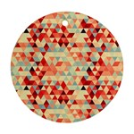 Modern Hipster Triangle Pattern Red Blue Beige Round Ornament (Two Sides)  Back