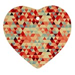 Modern Hipster Triangle Pattern Red Blue Beige Heart Ornament (2 Sides) Front