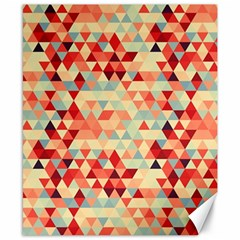 Modern Hipster Triangle Pattern Red Blue Beige Canvas 8  X 10  by EDDArt