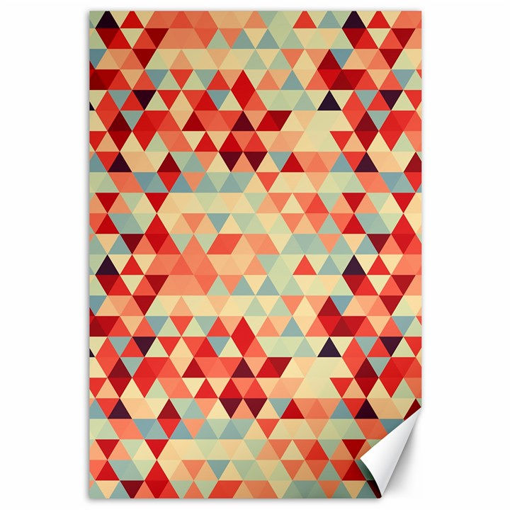 Modern Hipster Triangle Pattern Red Blue Beige Canvas 12  x 18