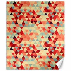 Modern Hipster Triangle Pattern Red Blue Beige Canvas 20  X 24   by EDDArt