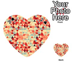 Modern Hipster Triangle Pattern Red Blue Beige Playing Cards 54 (heart)