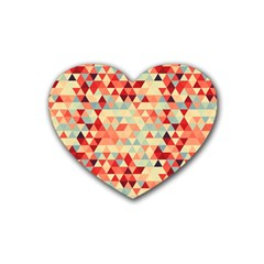Modern Hipster Triangle Pattern Red Blue Beige Rubber Coaster (heart)