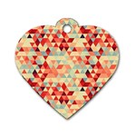 Modern Hipster Triangle Pattern Red Blue Beige Dog Tag Heart (One Side)