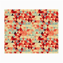 Modern Hipster Triangle Pattern Red Blue Beige Small Glasses Cloth (2 Side) by EDDArt