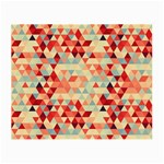 Modern Hipster Triangle Pattern Red Blue Beige Small Glasses Cloth (2-Side) Front