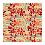 Modern Hipster Triangle Pattern Red Blue Beige Medium Glasses Cloth (2-Side) Front