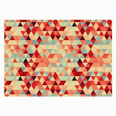 Modern Hipster Triangle Pattern Red Blue Beige Large Glasses Cloth (2 Side)