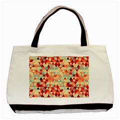 Modern Hipster Triangle Pattern Red Blue Beige Basic Tote Bag (two Sides) by EDDArt