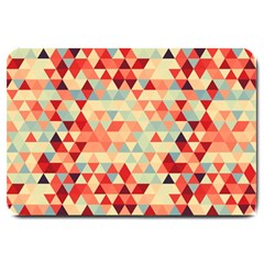 Modern Hipster Triangle Pattern Red Blue Beige Large Doormat