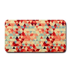 Modern Hipster Triangle Pattern Red Blue Beige Medium Bar Mats