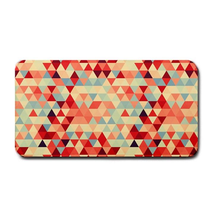 Modern Hipster Triangle Pattern Red Blue Beige Medium Bar Mats