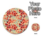 Modern Hipster Triangle Pattern Red Blue Beige Multi-purpose Cards (Round)  Front 26