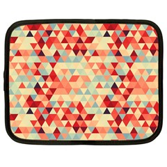 Modern Hipster Triangle Pattern Red Blue Beige Netbook Case (large)