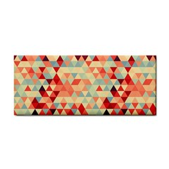 Modern Hipster Triangle Pattern Red Blue Beige Hand Towel