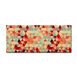 Modern Hipster Triangle Pattern Red Blue Beige Hand Towel Front